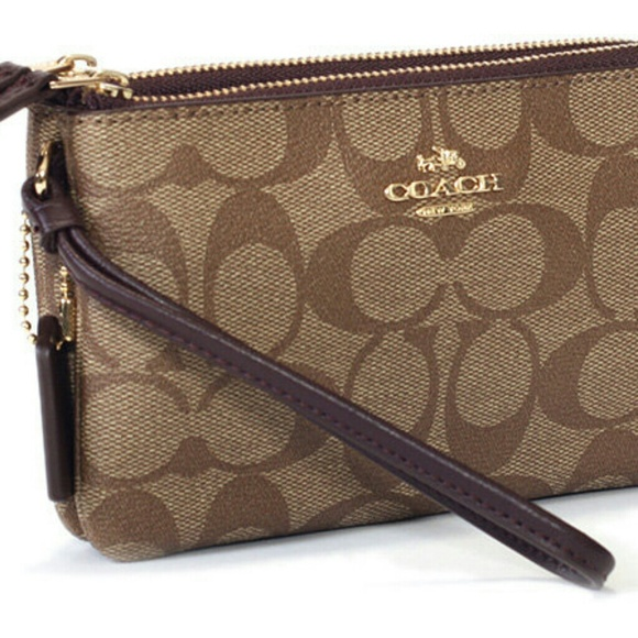 3237271ea29b NWT COACH Double Zipper Wristlet Wallet F87591